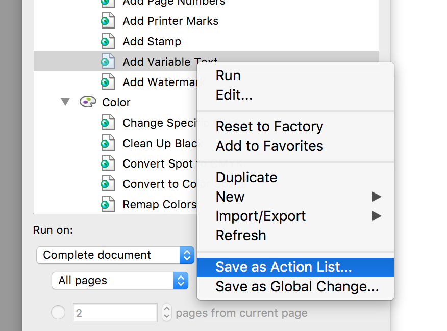 Enfocus PitStop Pro save Global Change as Action List