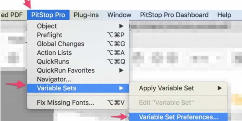 PitStop Pro Variable sets menu