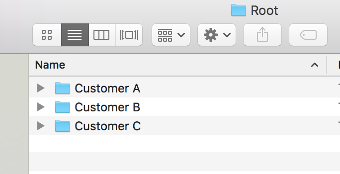Customer's folders